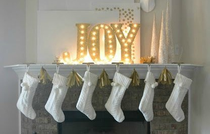 Christmas Mantel and DIY Illuminated Letters