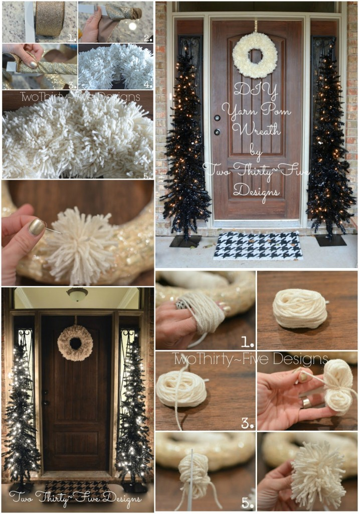 Anthro Pom Knock~Off Wreath and How to Make A Pom by Two Thirty~Five Designs