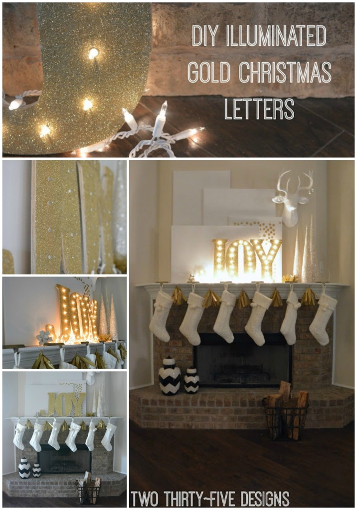 DIY Illuminated Gold Joy Christmas Letters and White Simple Mantel by Two Thirty~Five Designs