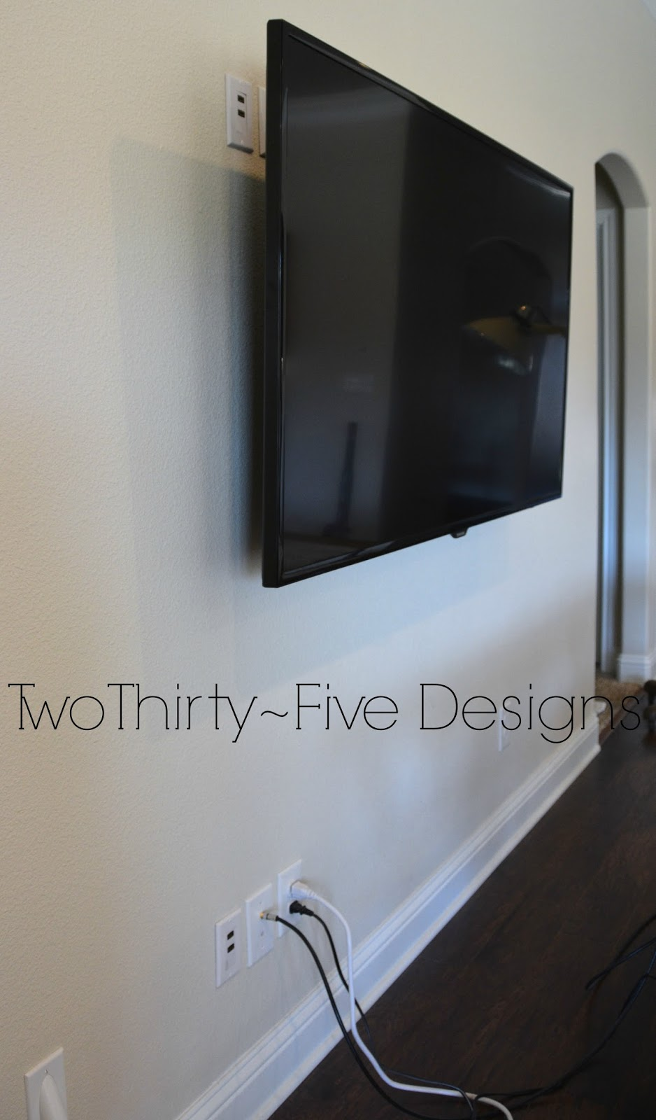 DIY Wall Mounted Television & Hidden Cords - Two Thirty-Five Designs