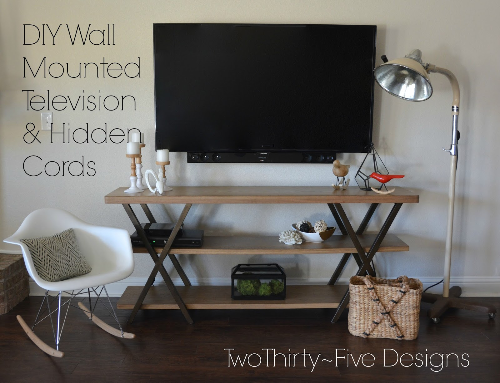 DIY Wall Mounted Television Hidden Cords Two ThirtyFive Designs