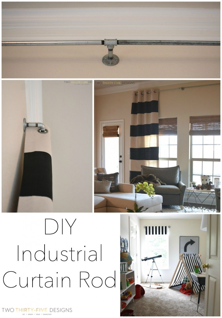 DIY Industrial Curtain Rod by Two Thirty~Five Designs