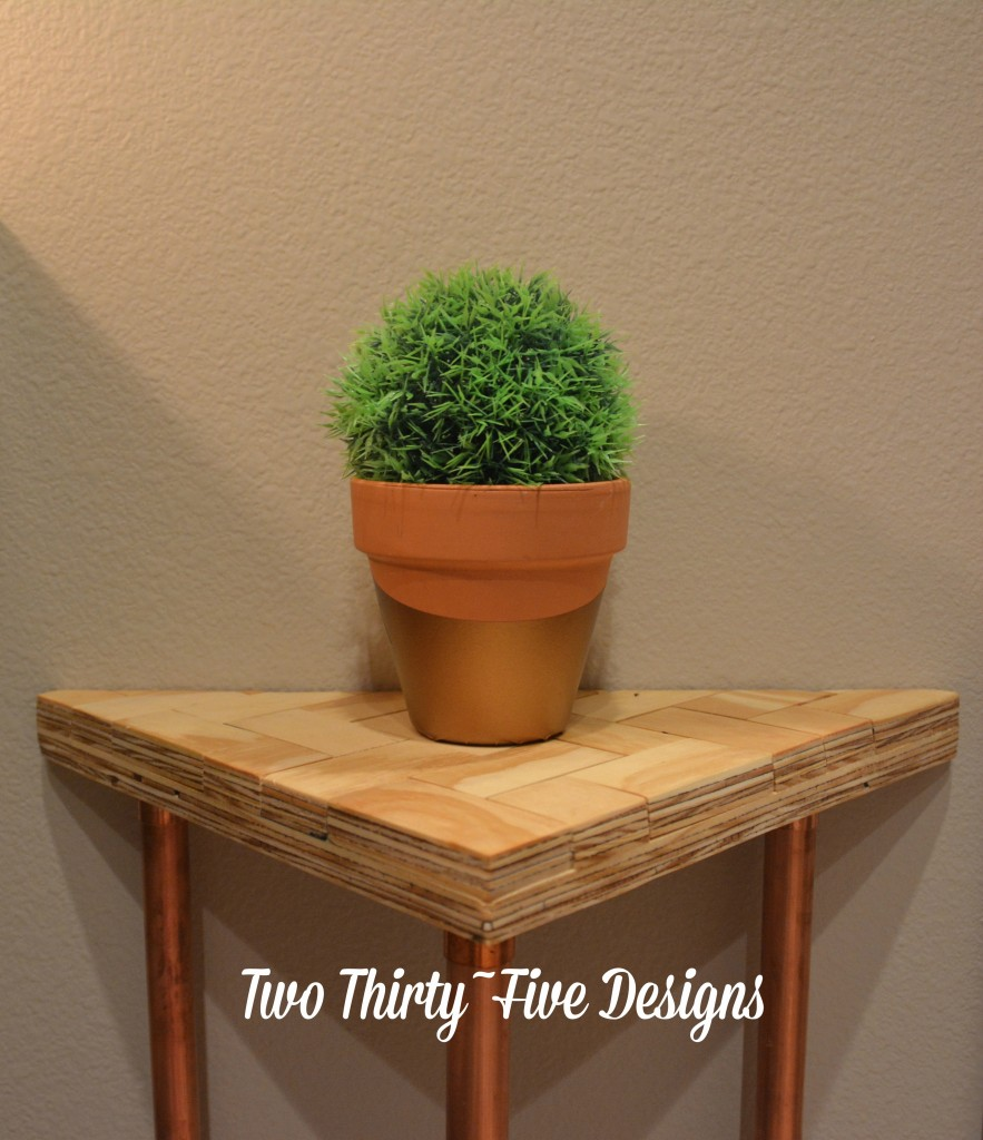 Copper Herringbone Side Table TwoThirtyFiveDesigns.com