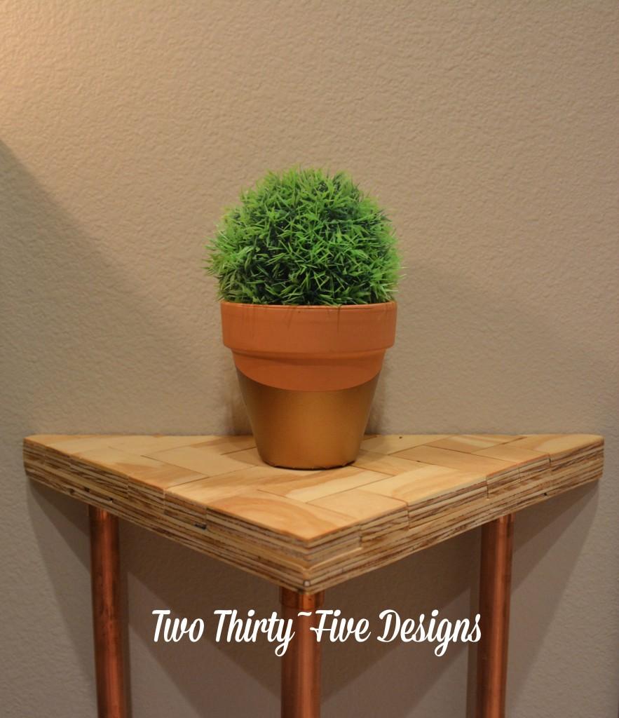 Copper Herringbone Side Table TwoThirtyFiveDesigns.com