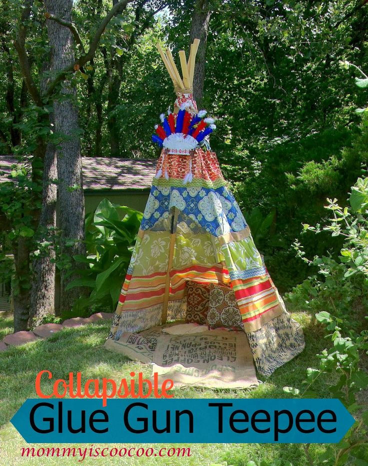 DIY Collapsible Glue Gun Teepee TwoThirtyFiveDesigns.com