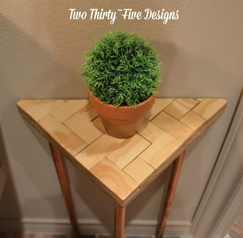 DIY Copper Herringbone Side Table TwoThirtyFiveDesigns.com