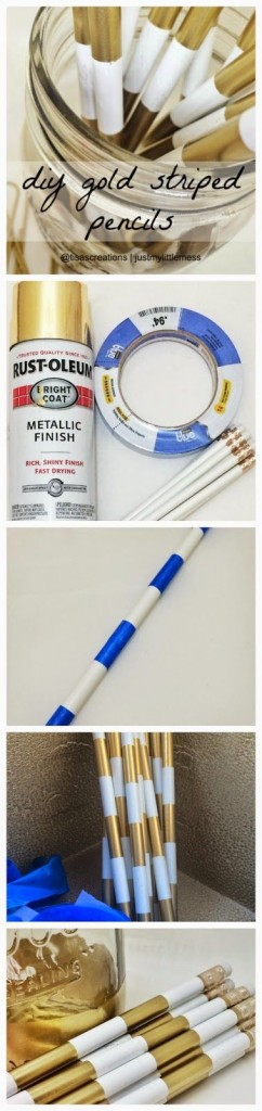 DIY Gold Striped Pencils TwoThirtyFiveDesigns.com