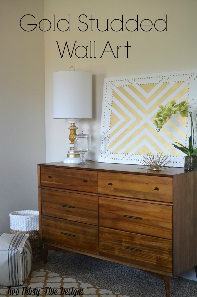 DIY Gold Studded Wall Art TwoThirtyFiveDesigns.com