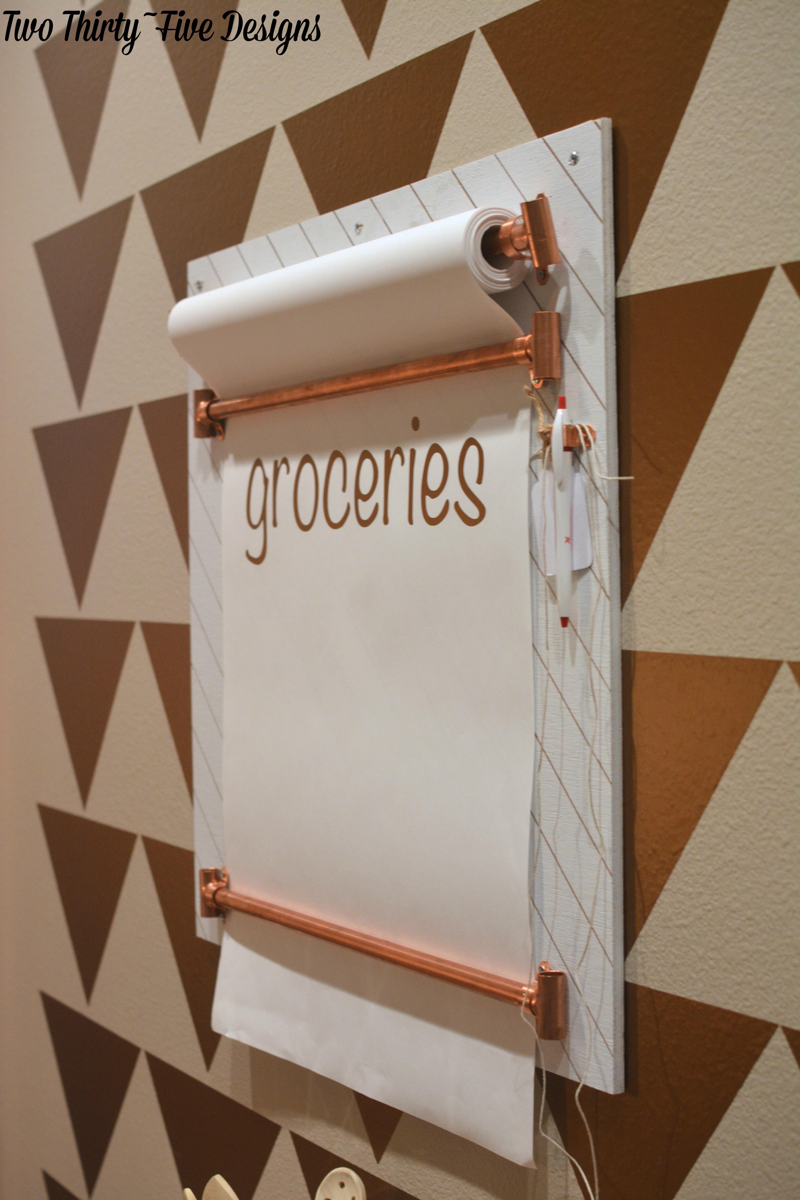 Copper Grocery List Board