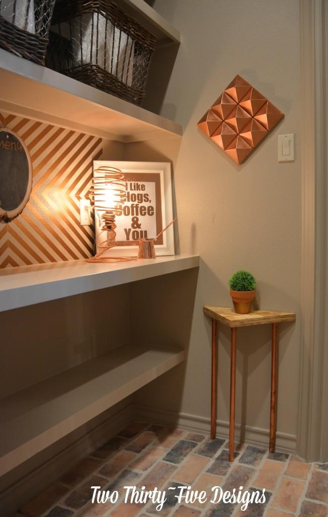 Herringbone Copper DIY Side Table TwoThirtyFiveDesigns