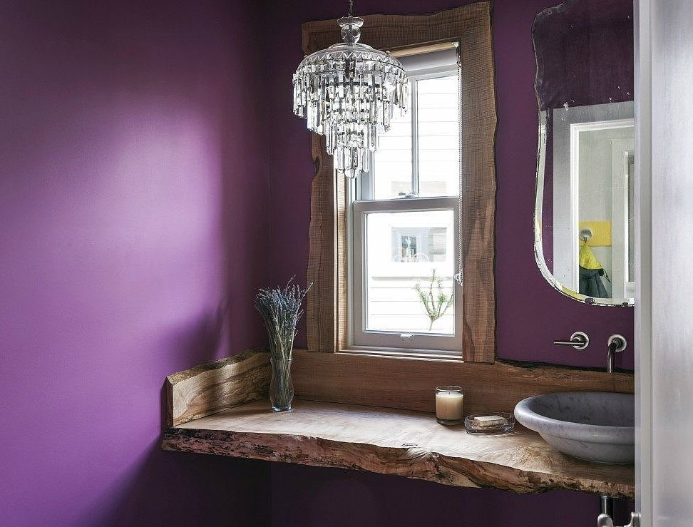 Novogratz Purple Bath with live edge counter TwoThirtyFiveDesigns.com