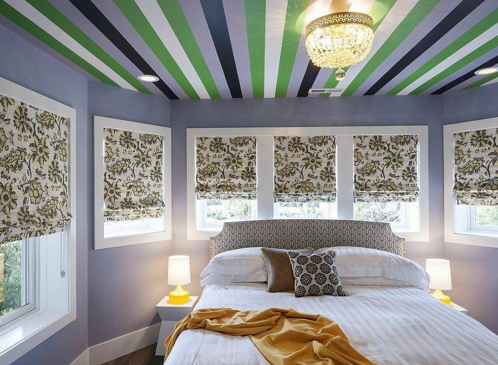 Novogratz Striped Ceiling Bedroom TwoThirtyFiveDesigns.com