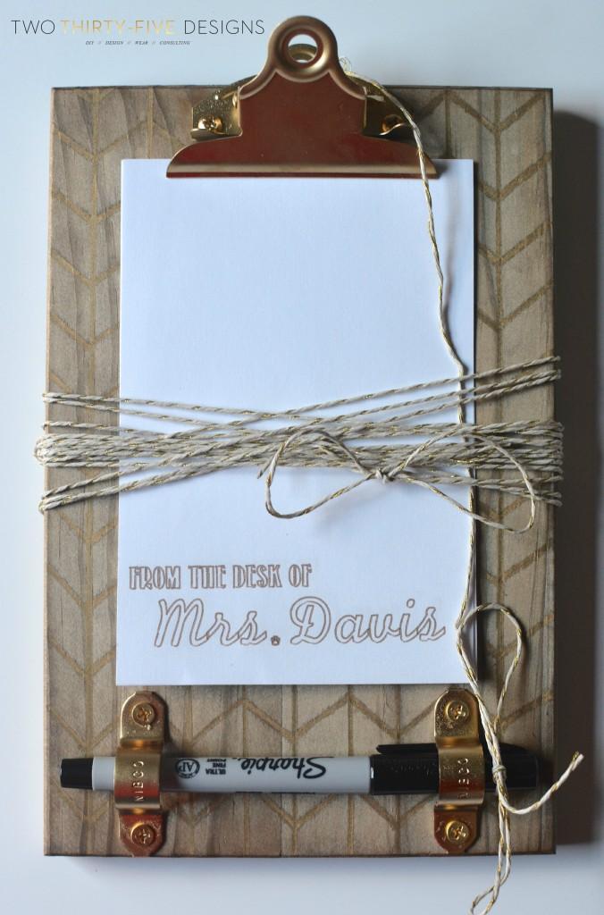 Back to School Teachers Gift ~ DIY Sharpie Clipboard