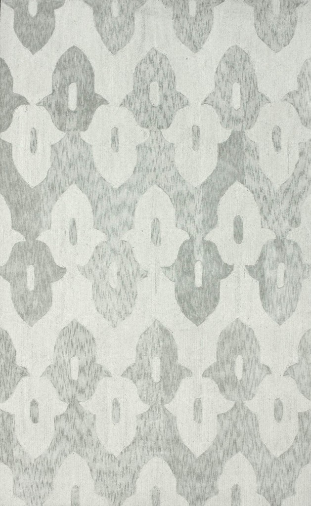 Elegance Cotton and Wool Trellis Light Gray Area Rug