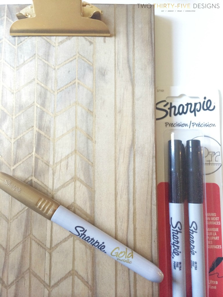 Gold Sharpie Clipboard