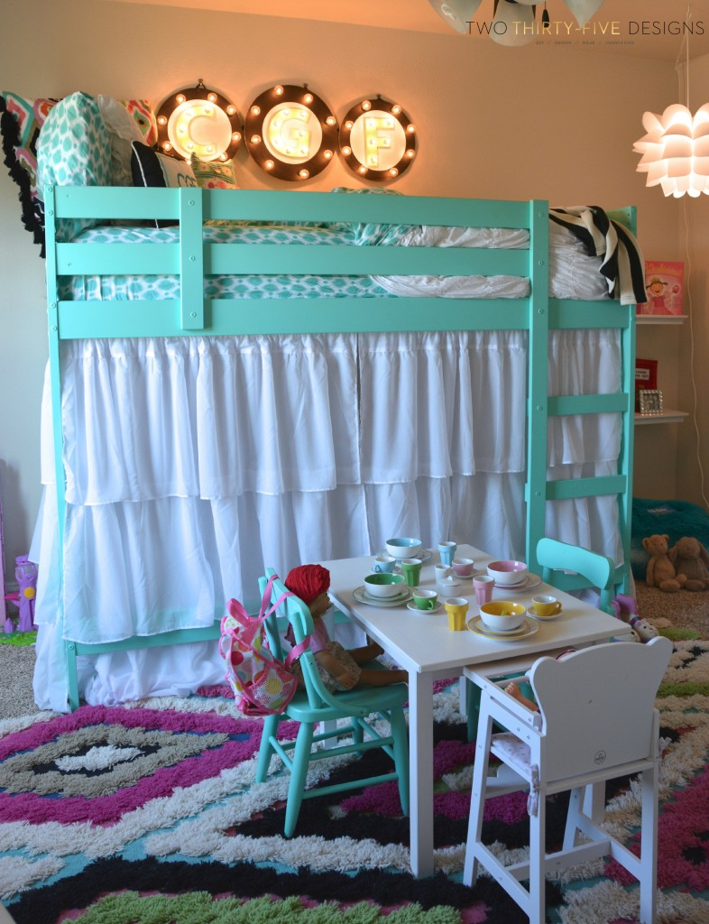 Loft bed curtains dorm - Ikea Bunk Bed Hack By Twothirtyfivedesigns