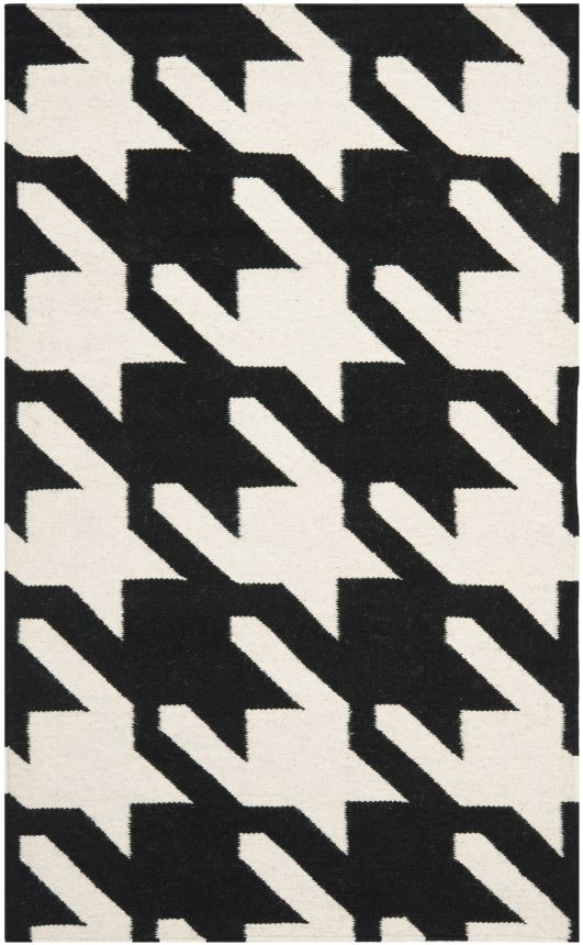 Safavieh Dhurries Black Ivory Area Rug
