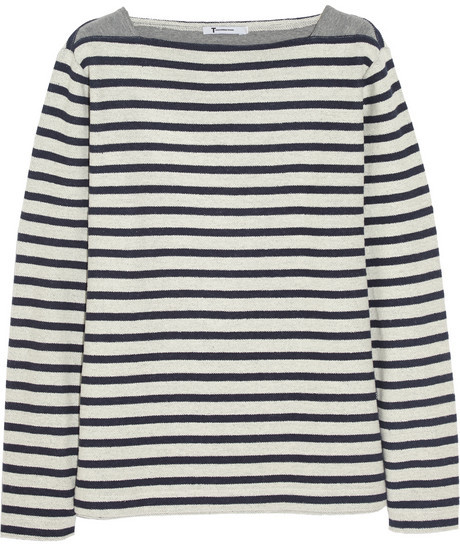 T by Alexander Wang Striped cotton-terry top