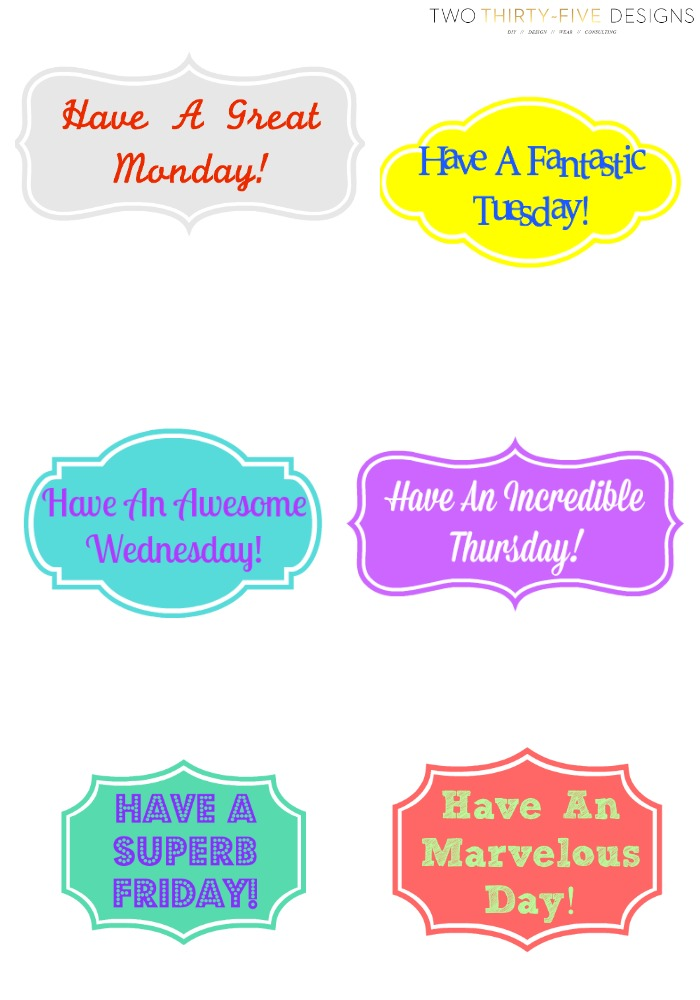 Weekly Lunchbox Printable by Two Thirty~Five Designs