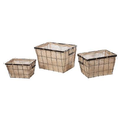 Burlap Wire Baskets