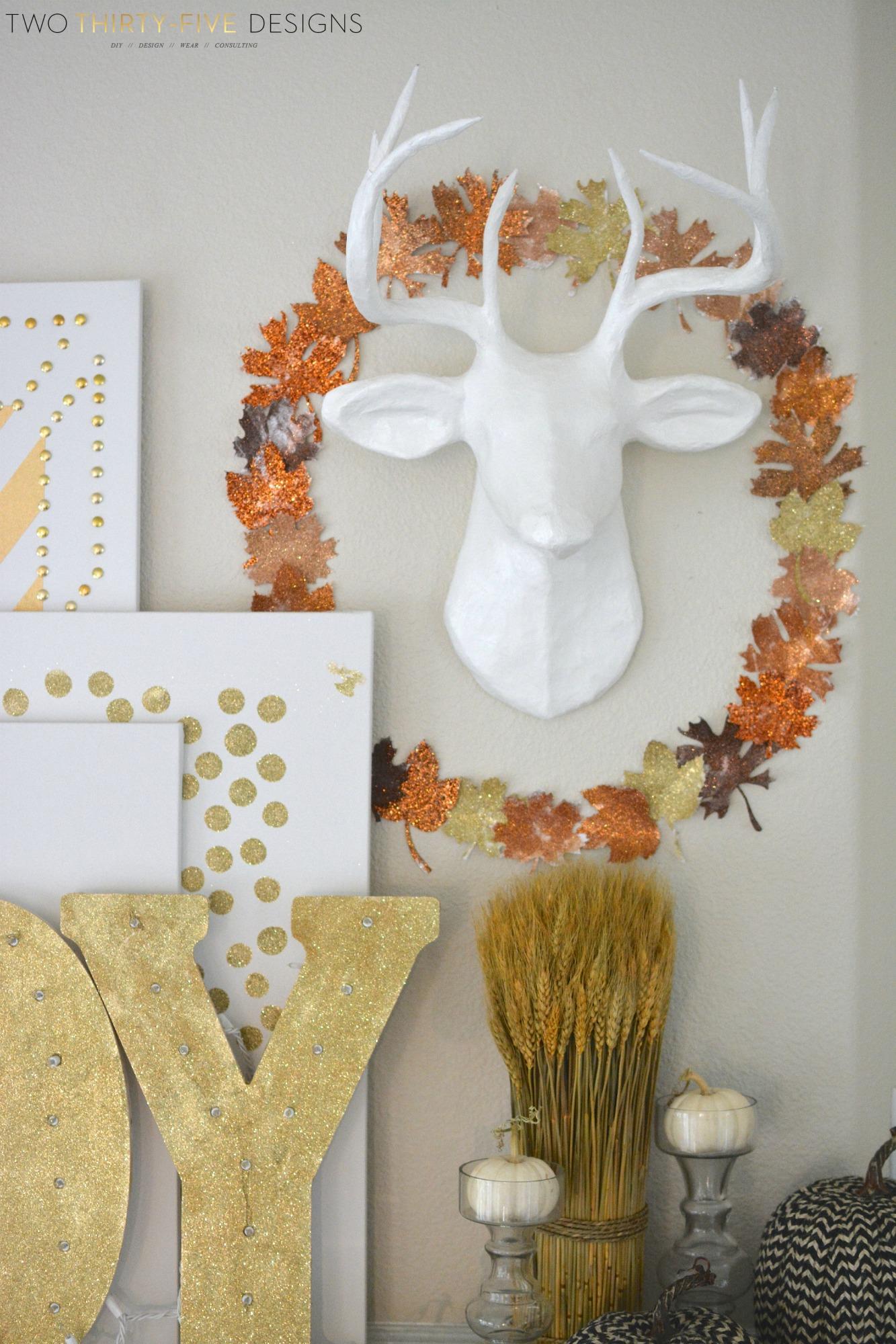 Diy Glitter Wreath And Fall Mantel