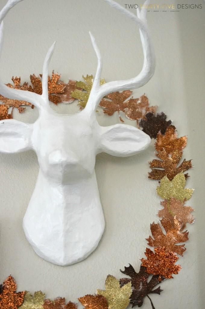 DIY Glitter Leaf Wreath and Fall Mantel