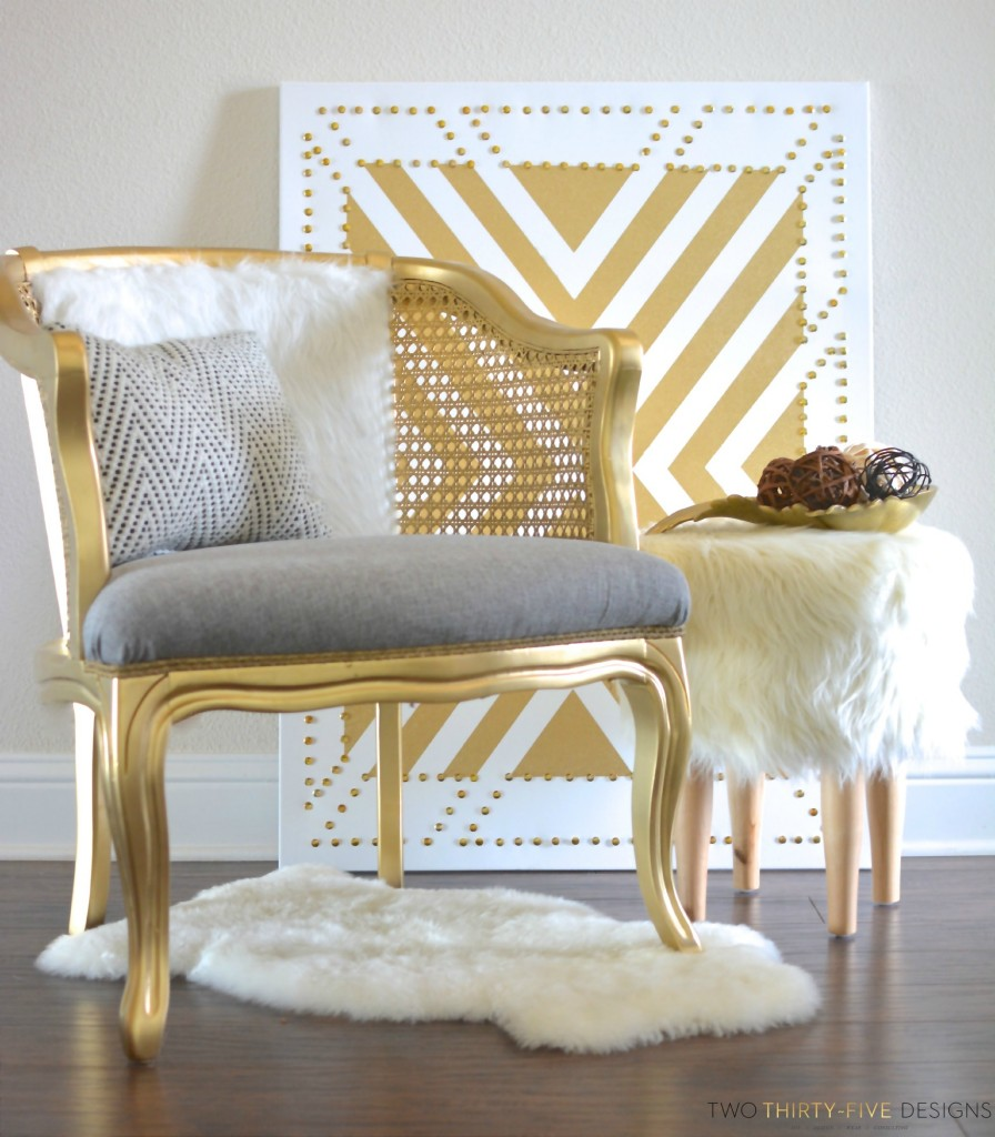 Gold Cane Chair Makeover by Two Thirty~Five Designs