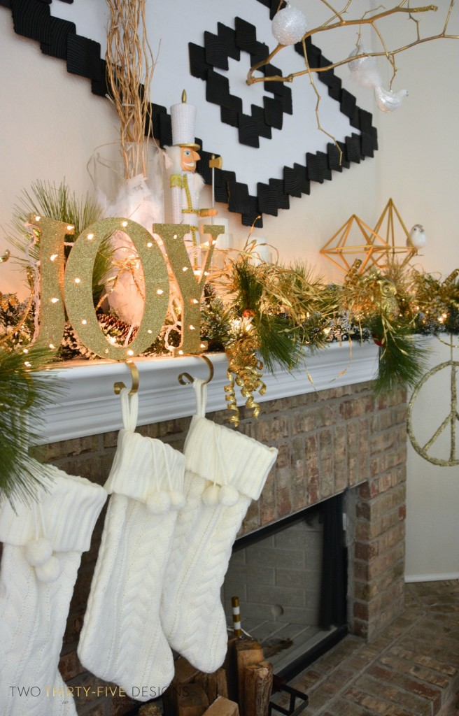 Christmas Holiday Mantel Two Thirty Five Designs