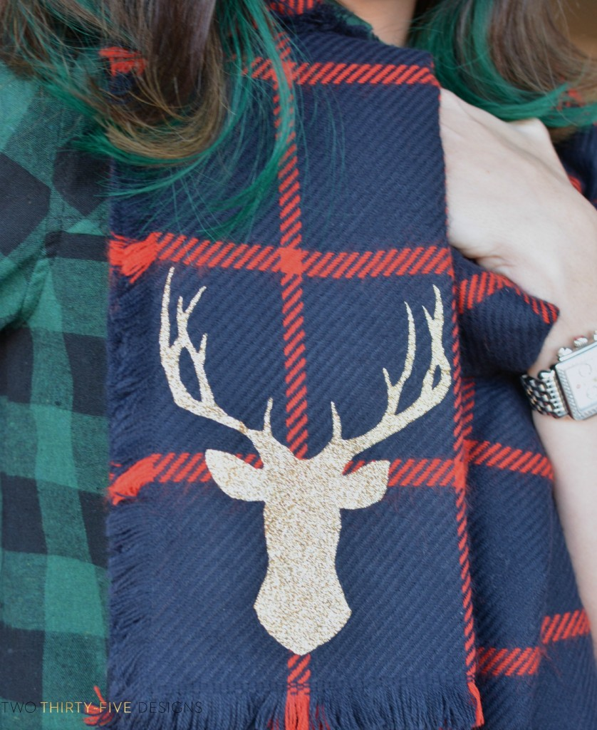Christmas Plaid Deer Scarf by Two Thirty~Five Designs