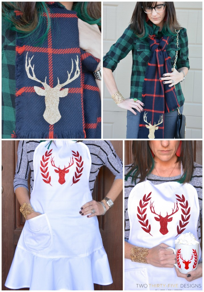 DIY Deer Silhouette Apron and Scarf by Two Thirty~Five Designs