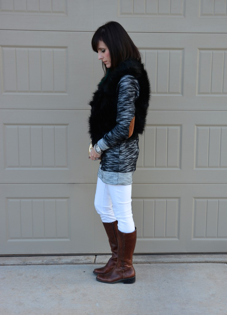 Casual Friday Link Up // Fur Vest // Leather Elbow Patches // Metallic Gold // White Skinnies // Riding Boots // Druzy