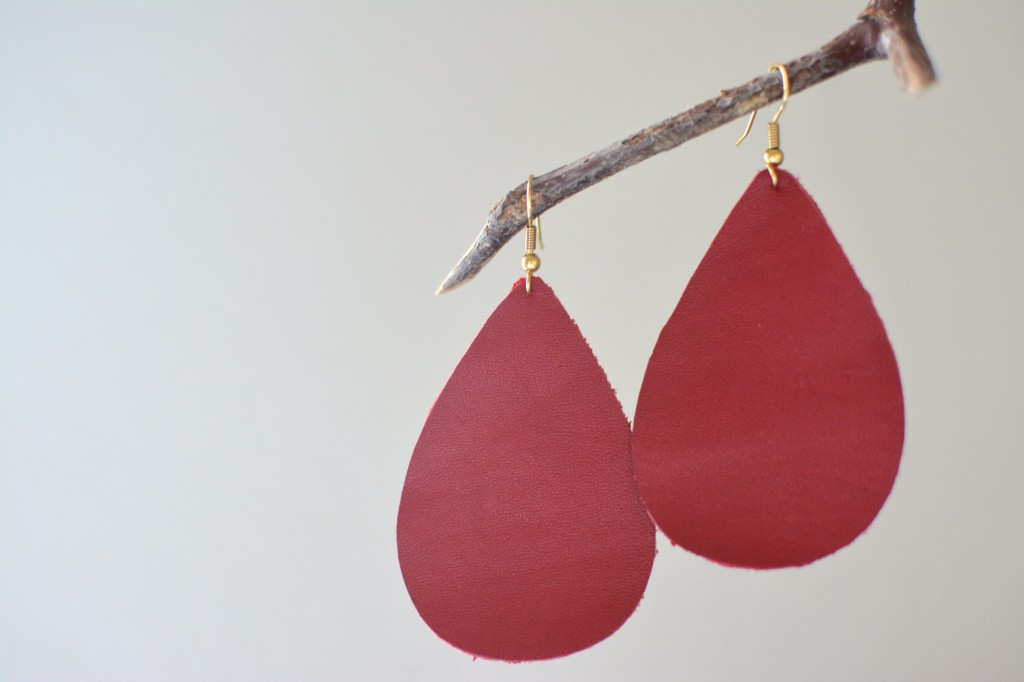 Red Leather Earrings by Two Thirty~Five Designs