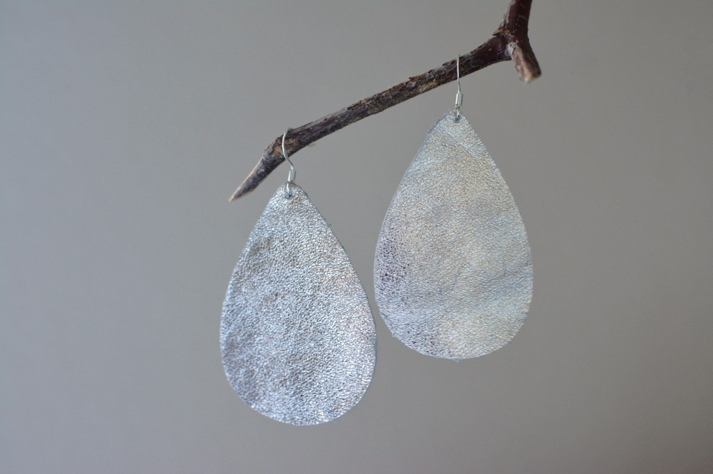 Silver Metallic Leather Earrings by Two Thirty~Five Designs