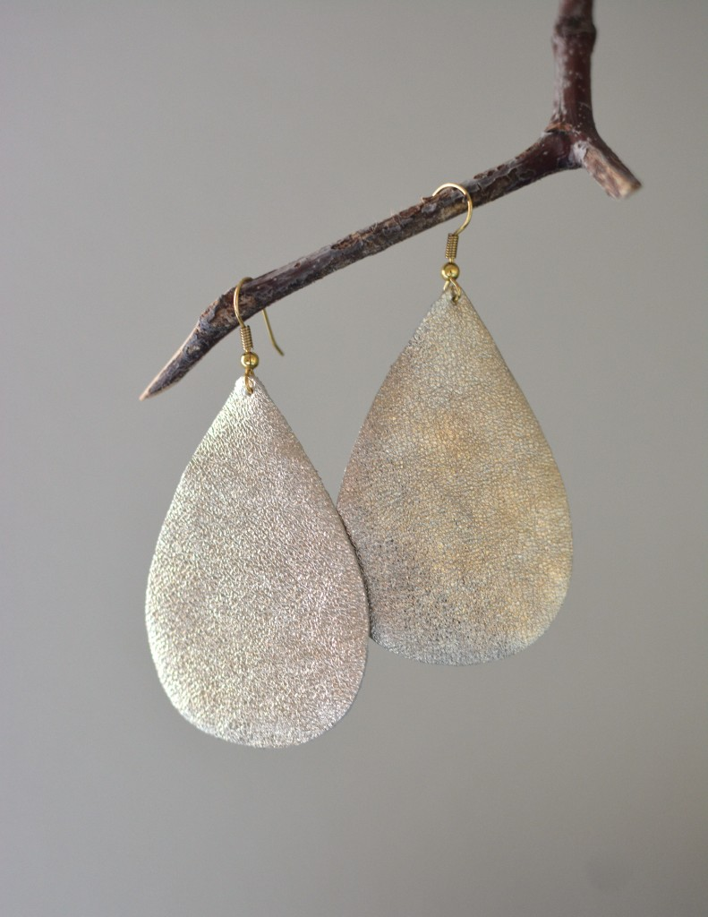 Gold Metallic Leather Earrings by Two Thirty~Five Designs