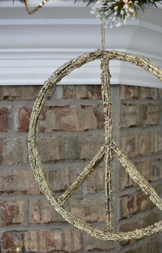 Gold Glitter Peace Sign