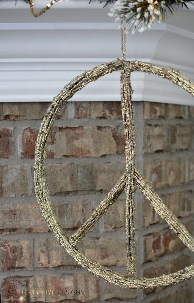Gold Glitter Peace Sign