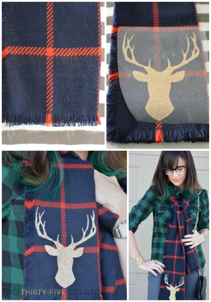 How to make a Plaid Glitter Deer Scarf by Two Thirty Five Designs