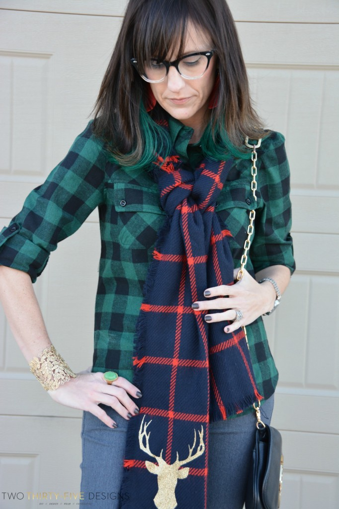 Plaid Deer Scarf by Two Thirty~Five Designs