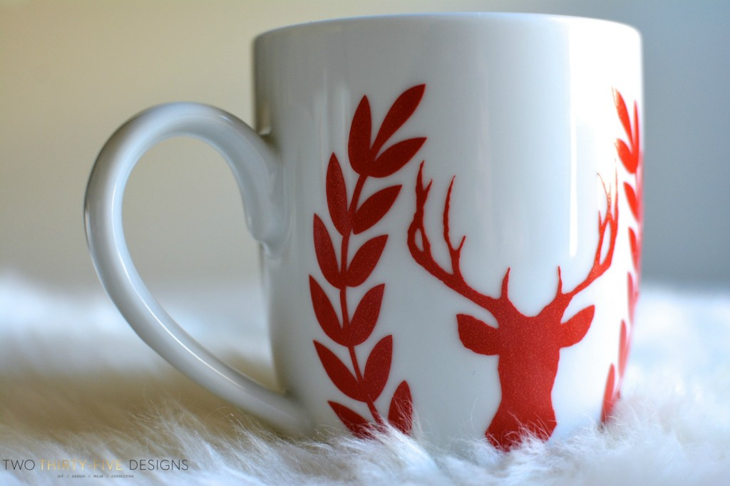 Red Glitter Deer holiday Mug by Two Thirty Five Designs