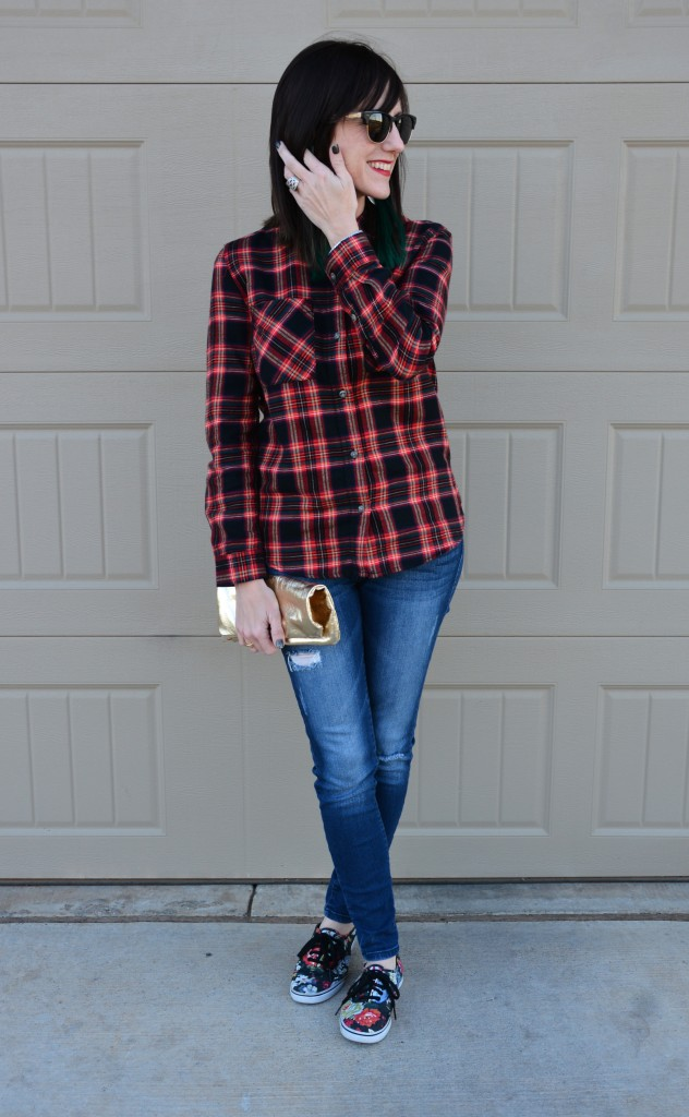 Plaid Flannel, Skinny Torn Jeans, Floral Vans and Gold Metallic Leather by Two Thirty~Five Designs