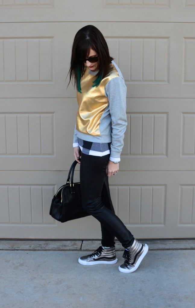 Casual Friday Link Up // gold foil sweatshirt, black leather pants, metallic high tops // @vans @target @jcrew @toryburch