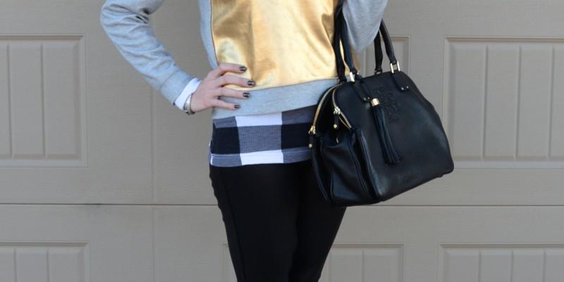 Casual Friday Link Up // gold foil sweatshirt, black leather pants, metallic high tops // @vans @target @jcrew @toryburch
