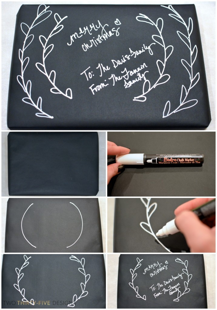 How To Draw A Simple Wreath Using A Chalk Pen by Two Thirty~Five Designs