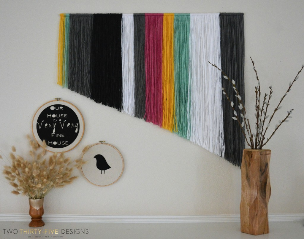 Swapitlikeitshot thrift store swap two thirty five designs for Diy yarn wall art
