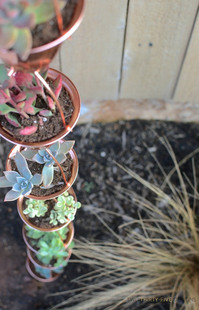 Copper Rain Chain Succulent Planter by Two Thirty~Five Designs