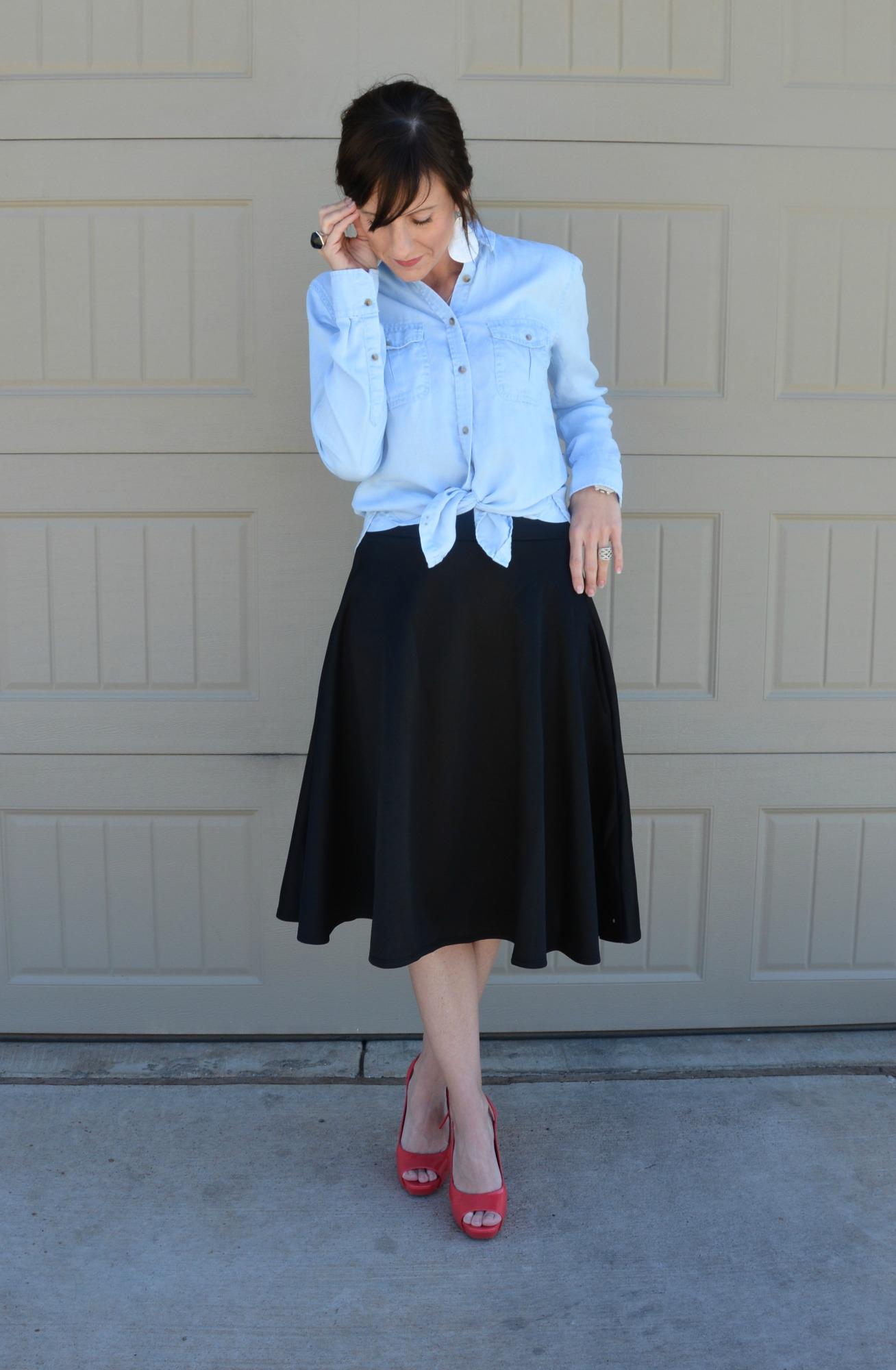 d0523e524d Casual Friday Link Up - Denim and Midiskirts - Two Thirty-Five Designs