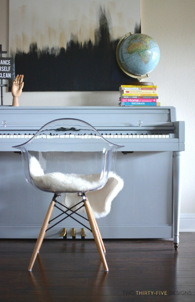 Gray Chalk Paint Piano by Two Thirty~Five Designs
