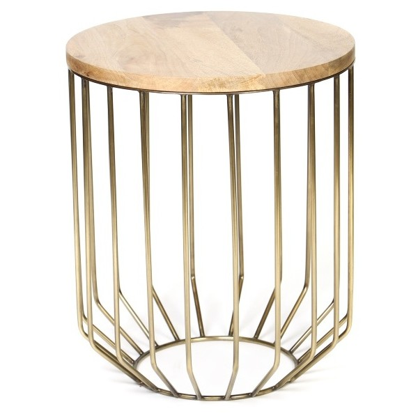 Neutral Living with Gold Wire Side Table by Two Thirty Five Designs