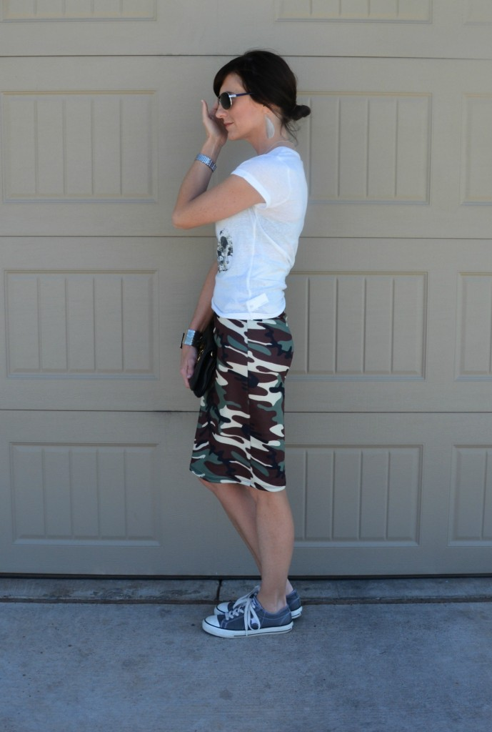 casual friday link up - camouflage pencil skirt