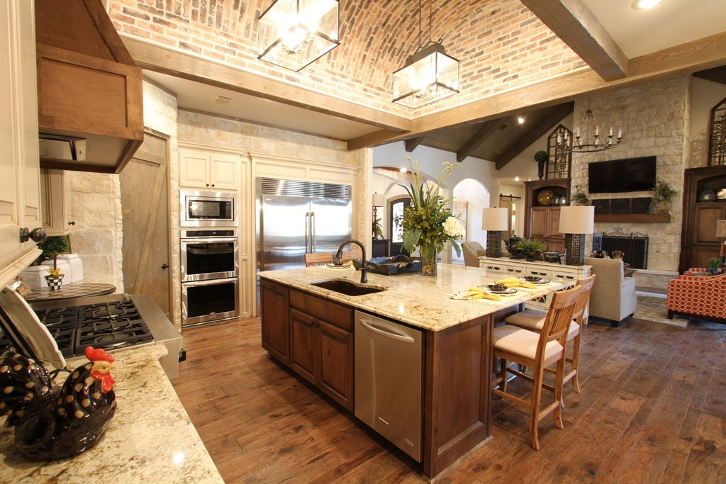 Brick Barrel Kitchen Ceiling